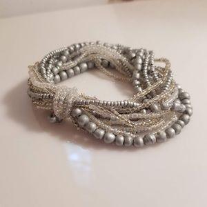 Vintage Multi-Strand Gathered Beaded Bracelet